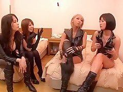 Fabulous Japanese sluts Mana Izumi, Hitomi Kitagawa and Uta Kohaku in Crazy Live JAV show